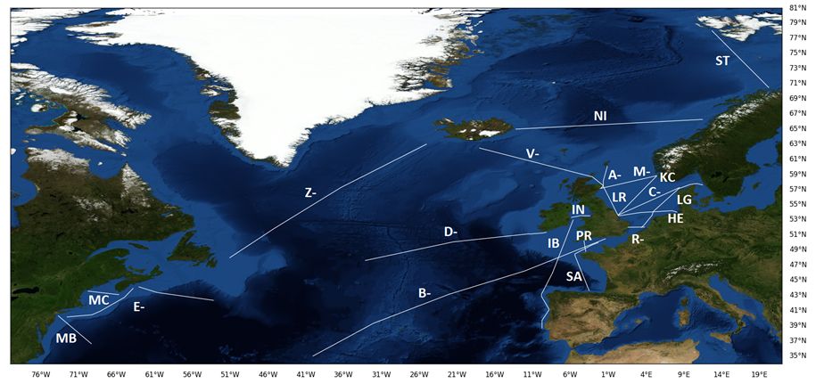 North Atlantic CPR Route Map